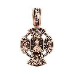 Золотой крест в комбинированном цвете Господь Вседержитель с ликами Святых и Архангелов 000139250