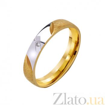 Золотое обручальное кольцо Любовный талисман с фианитом TRF--432257