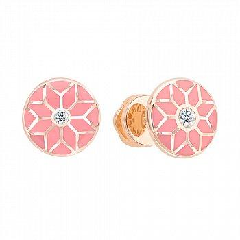 Серьги-пуссеты из красного золота Queen с бриллиантами и розовой эмалью 000081183