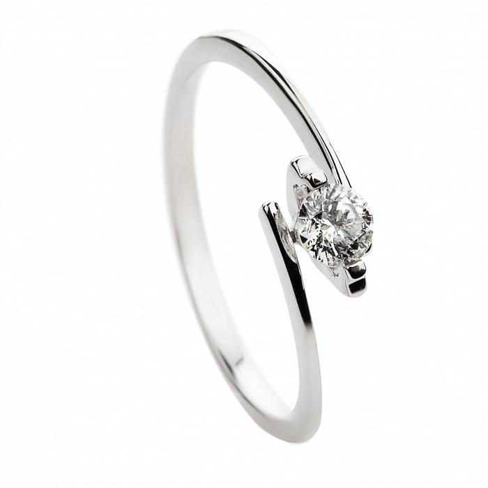 Кольцо из белого золота с бриллиантом Дороти 000030519