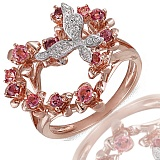Золотое кольцо с гранатами, топазами и бриллиантами Летисия