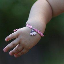 Детский плетеный браслет Машинка с эмалью и фианитом, 10-20см
