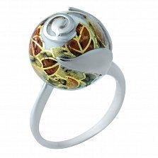 Серебряное кольцо Анемона с цветной эмалью