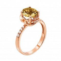 Золотое кольцо Акулина в красном цвете с раухтопазом и фианитами