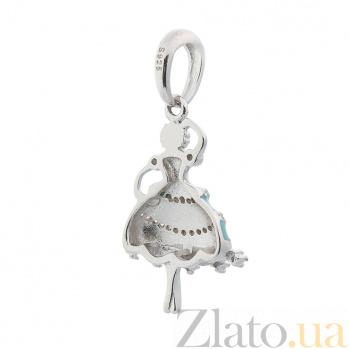 Серебряный шарм Балерина с фианитами, бирюзовой и белой эмалью 000080246