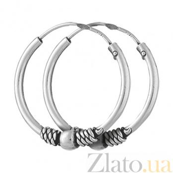 Серебряные сережки-конго Заира SLX--С5/313
