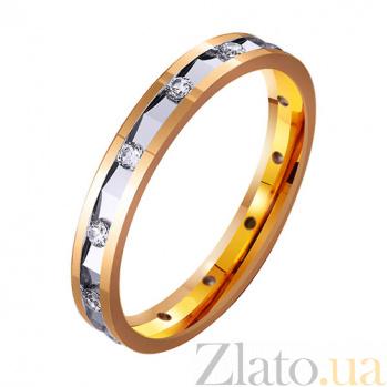 Золотое обручальное кольцо с фианитами Прекрасное мгновение TRF--4121320
