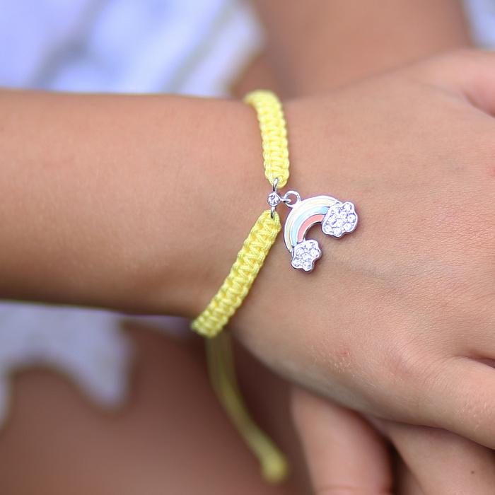 Детский плетеный браслет с эмалью и фианитами Радуга в облаках, 10х20см 000080618