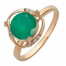 Кольцо из красного золота Айрин с агатом и цирконием