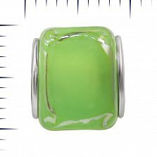 Серебряный шарм Абсент с зеленым муранским стеклом