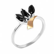 Серебряное кольцо с золотой вставкой и цирконием Трилистник