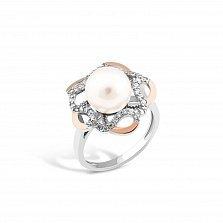 Серебряное родированное кольцо Моретта с золотыми накладками, имитацией жемчуга и фианитами