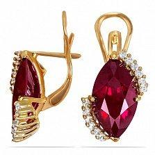 Золотые серьги Катарина с синтезированным рубином и фианитами