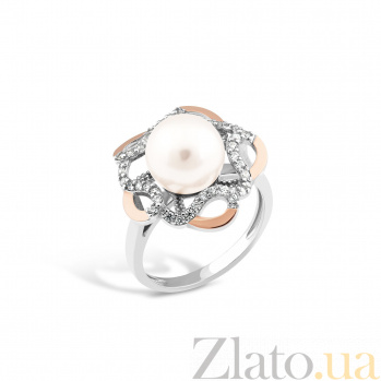 Серебряное родированное кольцо Моретта с золотыми накладками, имитацией жемчуга и фианитами 000082130