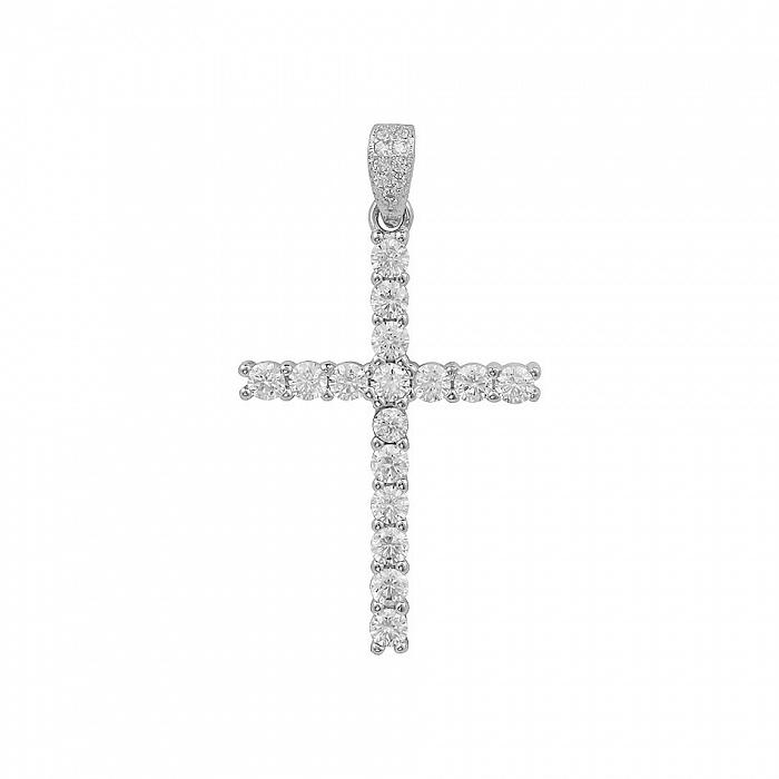 Серебряный крестик Лунная соната с фианитами 000081767
