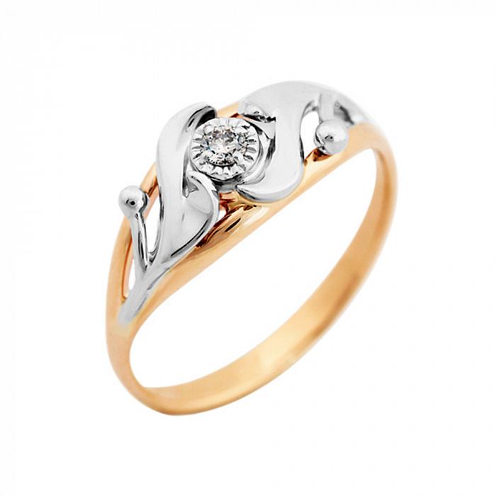 Золотое кольцо Сказка в комбинированном цвете с бриллиантом VLA--15880