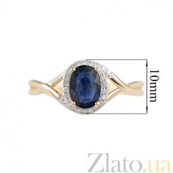 Золотое кольцо с сапфиром и бриллиантами Морской этюд 000026842