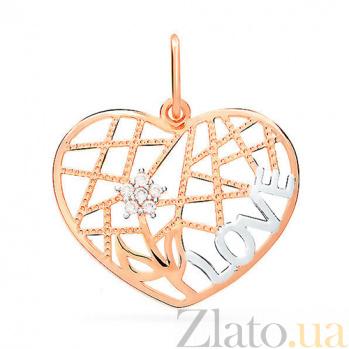 Кулон из золота с фианитами Лабиринты любви SUF--422635