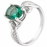 Серебряное кольцо с зеленым кварцем Зарема