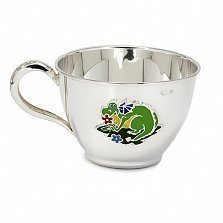 Серебряная чашка Дракоша с разноцветной эмалью, 250мл