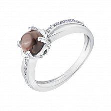 Серебряное кольцо Флориш в помолвочном стиле с дымчатым кварцем и фианитами