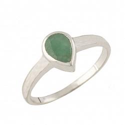 Серебряное кольцо Лаванья с изумрудом