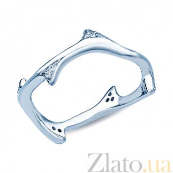 Серебряное кольцо с фианитами Плавники 000027184