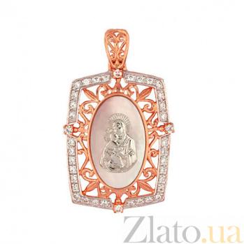 Прямоугольная золотая ладанка Владимирская Божья Матерь VLT--Е3434