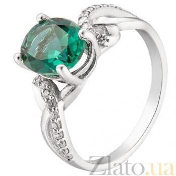 Серебряное кольцо с зеленым кварцем Зарема 1929/9р зел.кв