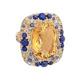 Золотое кольцо Felicia с цитрином, лазуритом, сапфиром и бриллиантом