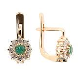 Золотые серьги с бриллиантами и изумрудами Юна