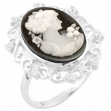 Кольцо из серебра Дива с ониксом, перламутром и фианитами