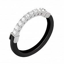 Серебряное кольцо Лурдес с керамикой и цирконием