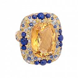 Золотое кольцо Felicia с цитрином, лазуритом, сапфиром и бриллиантом 000017173