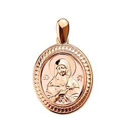 Овальная ладанка Божья Матерь в красном золоте