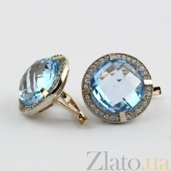 Золотые серьги с голубым топазом и цирконием Ромилда VLN--113-584-1