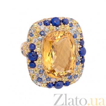 Золотое кольцо Felicia с цитрином, лазуритом, сапфиром и бриллиантом 1К113-0183
