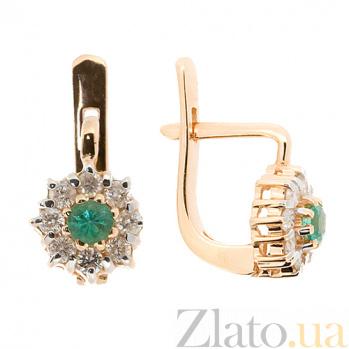 Золотые серьги с бриллиантами и изумрудами Юна 000021857