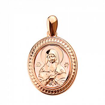 Овальная ладанка Божья Матерь в красном золоте 000130070