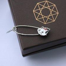 Серебряная булавка с эмалью Кошечка