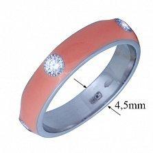 Золотое кольцо Пастель с фианитами и эмалью цвета коралл