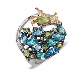 Серебряное кольцо с топазами, хризолитами и бриллиантами Дыхание весны