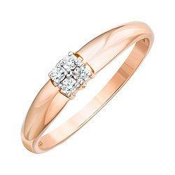 Кольцо из красного золота с фианитами 000122996