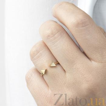 Золотое кольцо Стрела с разомкнутой шинкой и треугольниками 000082396