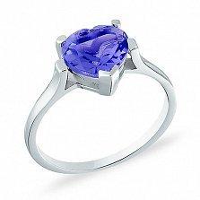 Кольцо из белого золота с голубым кварцем Сердце моря