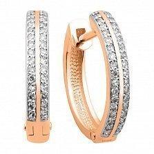 Серьги-кольца Маргарет в красном и белом золоте с бриллиантами