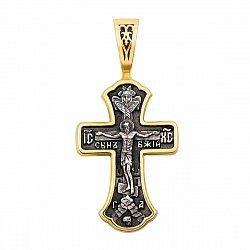 Серебряный двусторонний крестик в комбинированном цвете 000121561