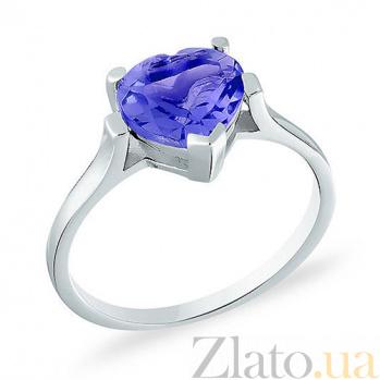 Кольцо из белого золота с голубым кварцем Сердце моря SUF--140592Пбр