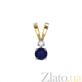 Золотой кулон Леди Джейн с сапфиром и бриллиантом VLA--30051
