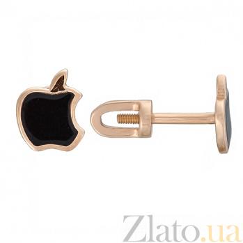 Золотые серьги-пуссеты Яблочко с черной эмалью TNG--500036Е